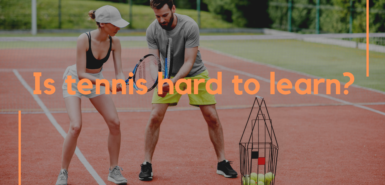 """male tennis structure teaching a women tennis with text over """"is tennis hard to leave"""""""