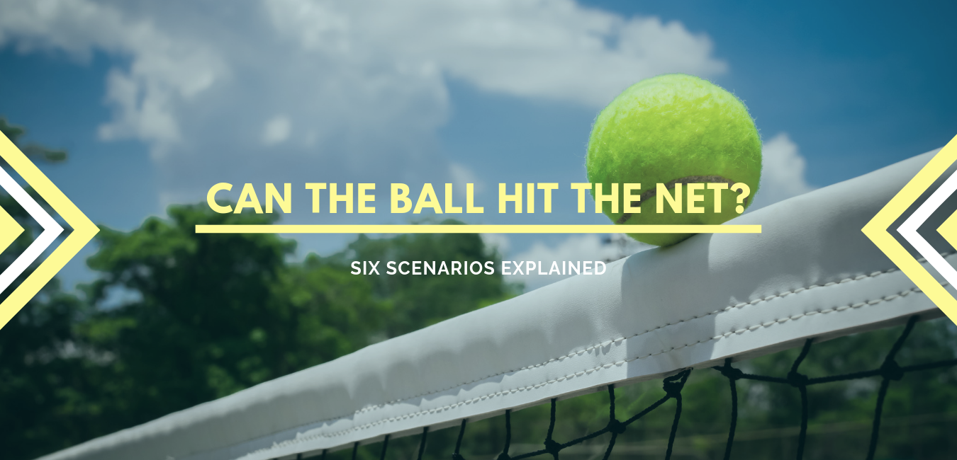 tennis ball hitting a net with trees and a cloudy sky in the background and text that states can the ball hit the net?