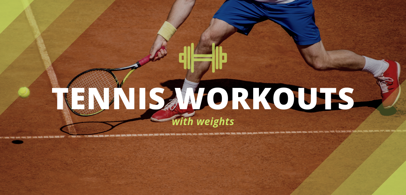 "fit tennis player reaching to hit ball with text ""tennis workouts with weights"""