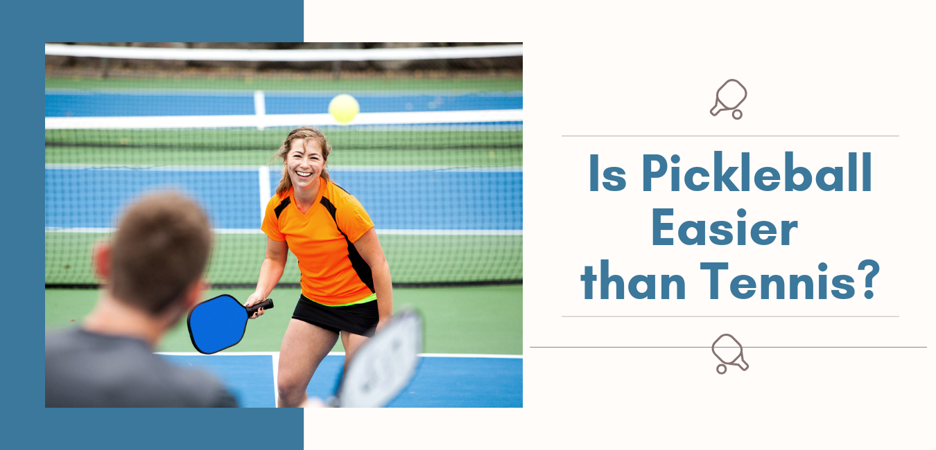 """woman laughing while playing pickleball with man with text """"is pickleball easier than tennis?"""""""