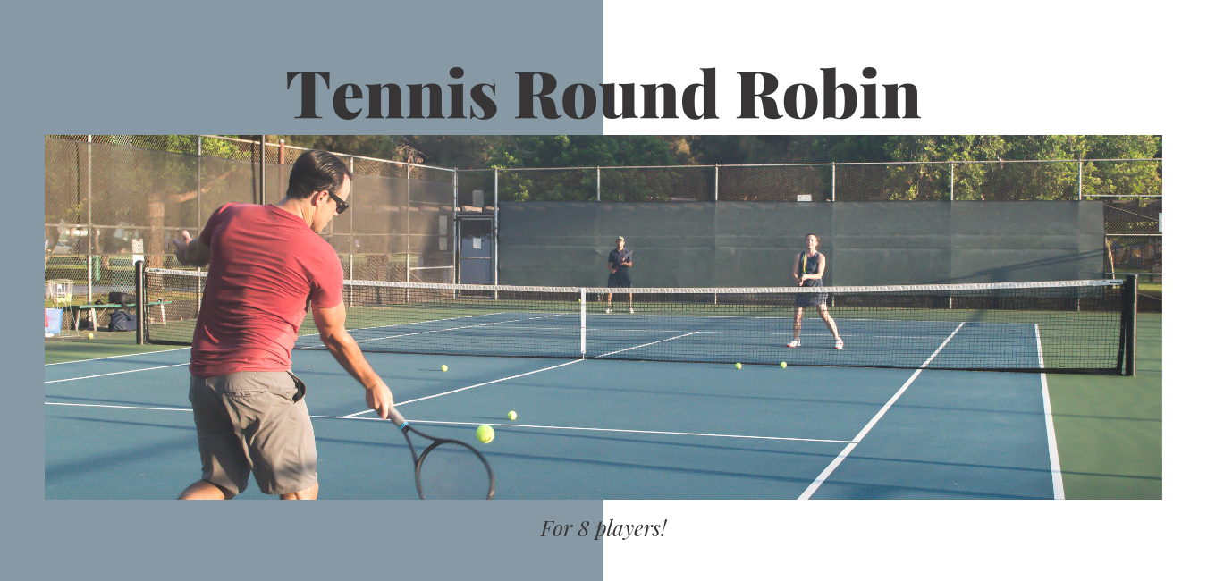 """group of people playing a game of mixed doubles on a blue tennis court with text """"tennis round robin format 8 players"""""""